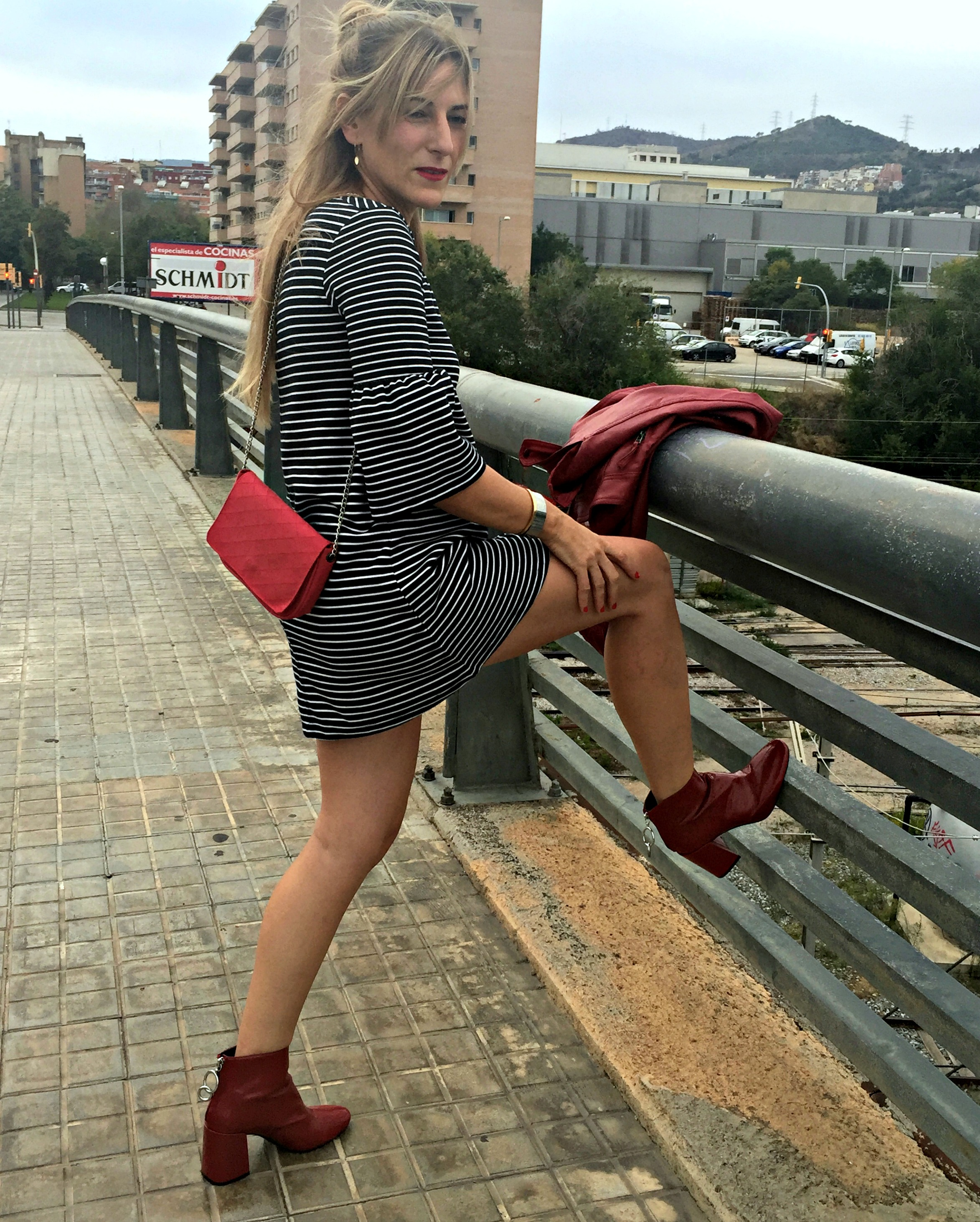striped dress & burgundy