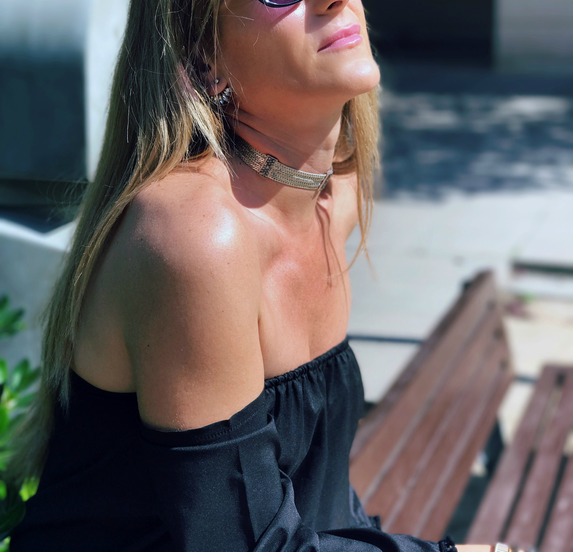 portadita choker off shoulder